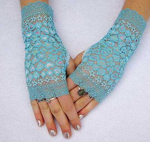 (Turquoise Blue Irridescent Lace Fingerless Gloves Wedding Prom Steampunk)