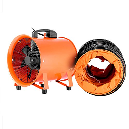 VEVOR Utility Blower Fan 12 Inch Portable Ventilator High Velocity Utility Blower Mighty Mini Low Noise with 5M Duct Hose (12 Inch with 5M Duct Hose) Utility Ventilator