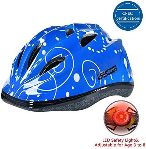 Kids Child Bike &Skateboard Helmet, With LED Warning Light Adjustable ASTM CPSC Safety for Scooter Rollerblading Inlineskating Cycling Balance Mutli-sport for Girls/Boys 3-8 Year old Toddler