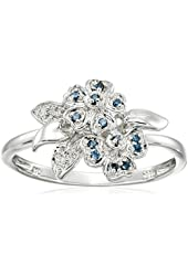 Sterling Silver Flower Blue and White Diamond Accent Ring