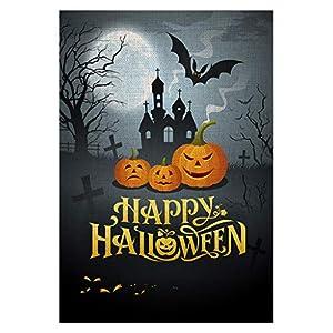 Zotemo Burlap Happy Halloween Garden Flag with Spooky Castle Pumpkin Bat Sign, Double Sided, 12.5 Inch x 18.5 Inch