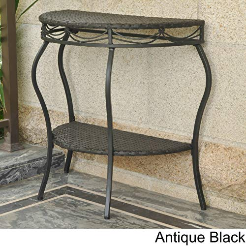 International Caravan Valencia Resin Wicker Outdoor Half-Moon Table Antique Black