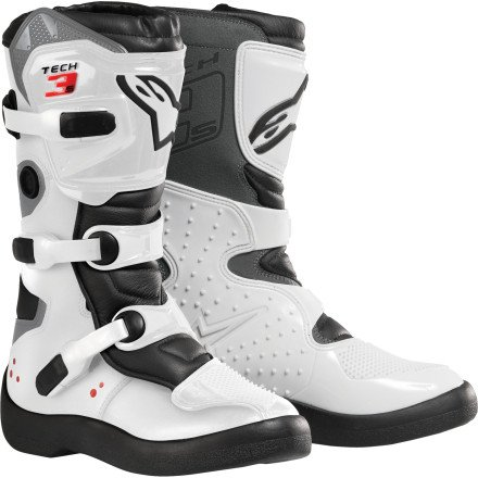 (Alpinestars Youth Tech 3S Boots-White/Black-7)