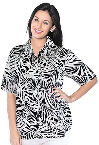 LA LEELA Womens Plus Size Hawaiian Shirt Button Down Aloha Camp Shirt Printed A