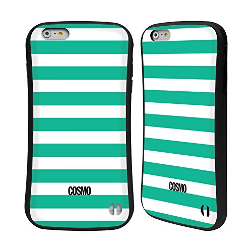 Official Cosmopolitan Teal Stripes Collection Hybrid Case for Apple iPhone 6 Plus / 6s Plus