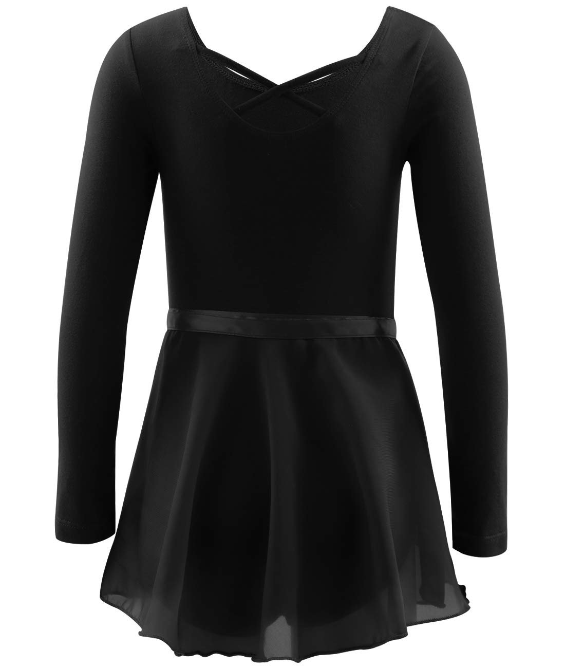 BhzHJ Girls Leotards for Dance//Ballet//Gymnastics Long Sleeve with Separate Chiffon Skirt Multiple Colors