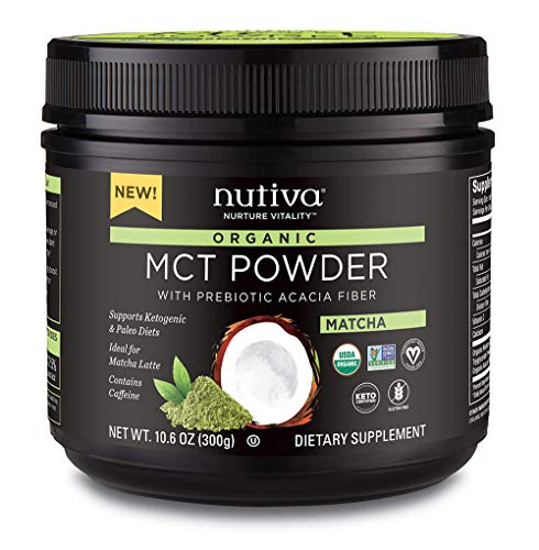 (Nutiva USDA Certified Organic Matcha MCT Powder with Prebiotic Acacia Fiber, Caprylic and Capric Acids from non-GMO, USDA Certified Organic Fresh Coconuts,)