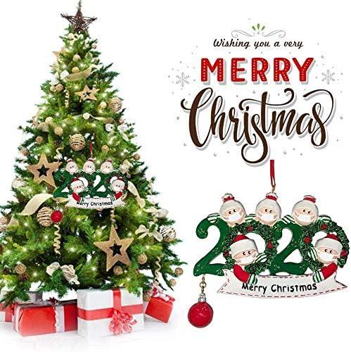 2020 Personalizzato Nome Natale Ornamenti Kit con Viso, 2020 Quarantena Famiglia Personalizzato Decorazione Natale Regalo Creativo per Famiglia 5 Nome Benedizione Albero di Natale Ciondolo