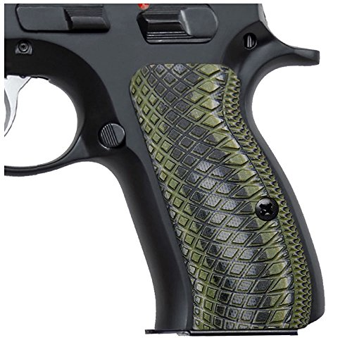 Cool Hand G10 Grips for CZ 75 Compact, Snake Scale Texture, Brand OD/BLK