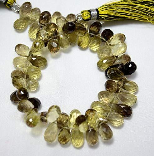 KALISA GEMS Beads Gemstone Bicolor Lemon Quartz Tear Drop Beads, Lemon Quartz Faceted Cut Drops Briolettes Gemstone for Jewelry, 6x10mm Approx, 4 Inch Strand - Lemon Quartz Drop