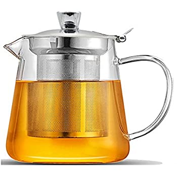 Glass Teapot,21 oz Borosilicate Glass Teapots with Stainless Steel Infuser and Lid,Ultralight High Heat Resistance for Flower Tea and Loose Leaf Tea Pot (600ml)
