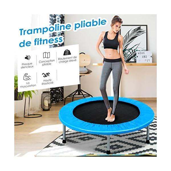 Costway 38 PoucesTrampoline de Fitness Ø97CM Pliable, Capacité de Charge Max.100KG Trampoline Intérieur/Extérieur pour Exercice Physique et Aérobic Adultes et Enfants Bleu accessoires de fitness [tag]