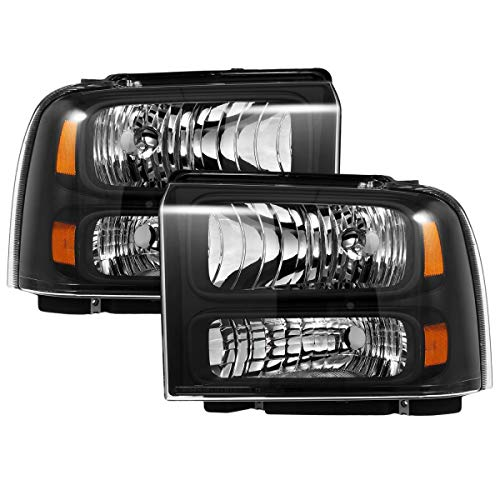 2005 Ford Super Duty Accessories - Partsam Replacement for 05 06 07 Ford F250 F350 F450 F550 Super Duty/ 05 Ford Excursion Headlight Assembly Headlamps Clear Lens Black Housing Headlights Set Driver and Passenger Side