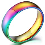 Nanafast Stainless Steel Dome Rainbow Couple Lebian & Gay Ring-10