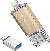 PHICOOL フラッシュドライブ USB メモリー 32GB/128GB iPhone PC Android 3in1 専用アプリ OTG Type- C 変換アダプター付属 アルミ合金製 …