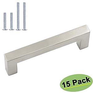 homdiy Cabinet Pulls Brushed Nickel 3.75 Cabinet Handles 15 Pack - HDJ12SN Dresser Drawer Pulls Square Cabinet Handles Brushed Nickel Cabinet Hardware