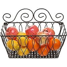 Wall Mounted Decorative Scrollwork Design Black Metal Wire Fruit Basket / Home Storage Bin Rack - MyGift