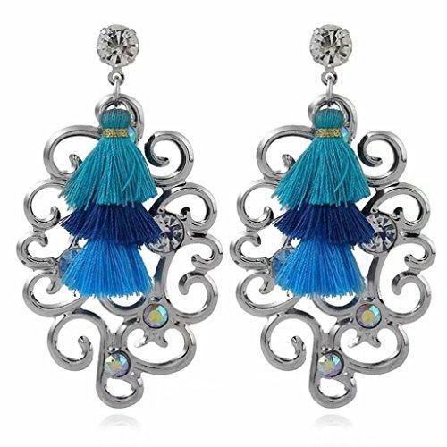 Ikevan Women Multicolor Earring Fashion Rhinestones Wool Tassels Earring Gorgeous Jewelry Retro Earring (E)