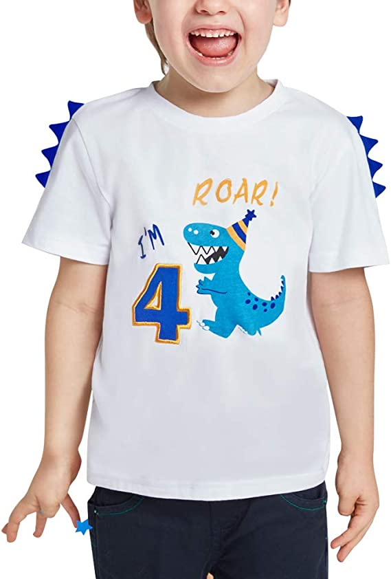 AMZTM Dinosaur/ First/ Birthday/ T-Shirt/ One/ Year/ Old/ Baby/ Boy/ Kids/ Party/ Gift/ Top Infants White Short Sleeve 100/% Cotton Crew Neck Printed T-Rex Tee