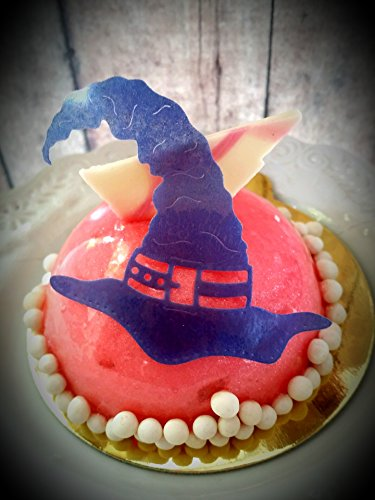 Edible Halloween Purple Witches Hat Cupcake Toppers Set of 24 -