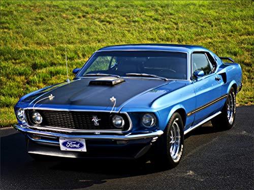 (Innerwallz Ford Mustang 428 Super Cobra Jet 1969 Light Blue Wall Art, Pop Art, Poster, Art Prints | Rare Posters)