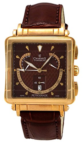 Charmex Le Mans Retrograde Chronograph Rose Gold Plated Steel Mens Watch Day of Week (Chronograph Rose Gold Plated)