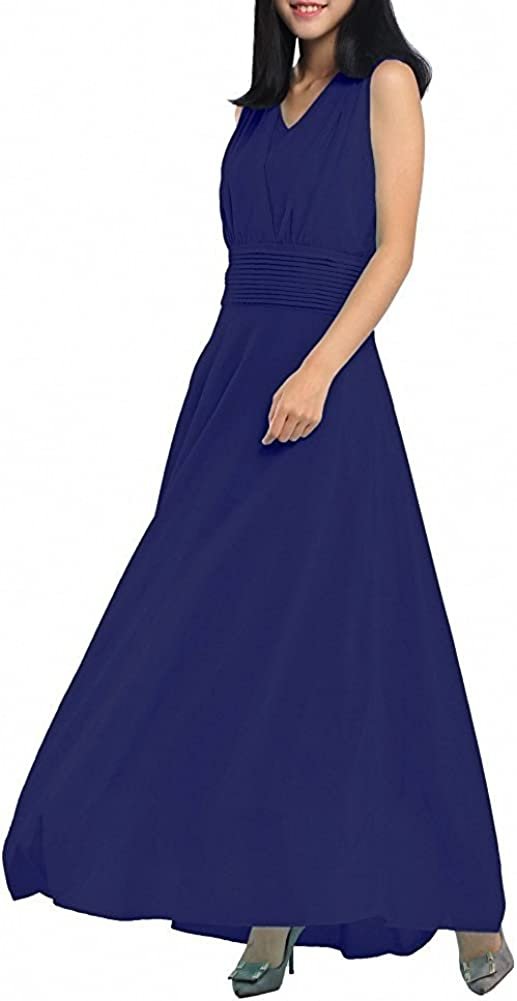 AFCastle Fetching Women Double Sleeveless Ruched Waist Ladies Long Evening Dress