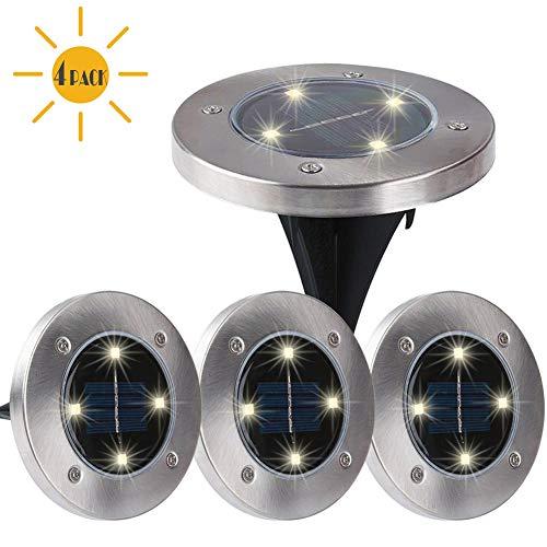 Skeleton In Ground (Maggift Solar Ground Lights,Garden Pathway Outdoor In-Ground Lights with 4 LED (4 Pack) (Warm)