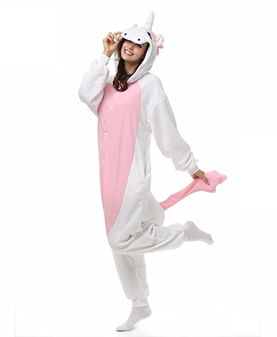 Amazon.com : HYY@ Kigurumi Pajamas Unicorn Leotard/Onesie Halloween Animal Sleepwear Pink Patchwork Polar Fleece Kigurumi UnisexHalloween / Christmas ...