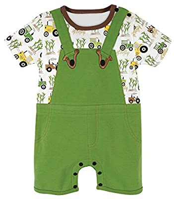 Stephan Baby Romper/Overall-Style Down on The Farm Tractor Diaper Cover, Green/White/Yellow, 6-12 Months