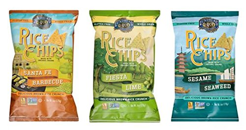 Lundberg Rice Chips Made with Organic Grains Variety Pack of 3 Flavors- Fiesta Lime, Santa Fe BBQ, and Sesame Seaweed (Pack of (Santa Fe Bbq)