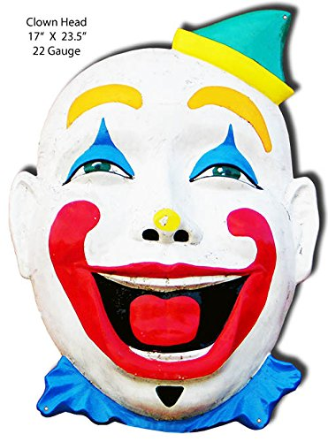Clown Face Art - Garage Art Signs Big Clown Face Laser Cut Out of Metal Sign 17x23.5