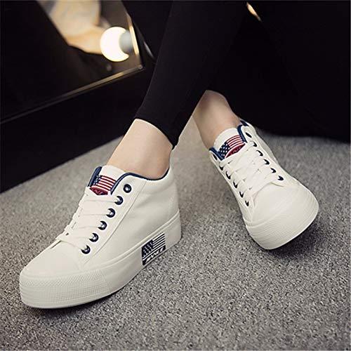 ZHZNVX Rojo Comfort Heel Black Flat Zapatos Canvas de Sneakers Spring Round Azul Negro Mujer Toe rZAqr