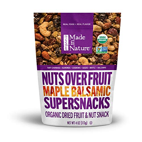- Made in Nature Organic Super Snacks, Maple Balsamic Nuts Over Fruit, A Sweet & Savory Blend of Cherries, Figs, Almonds, & Cashews with a Kiss of Maple Syrup & Balsamic Vinegar, 4 Ounce (Pack of 6)