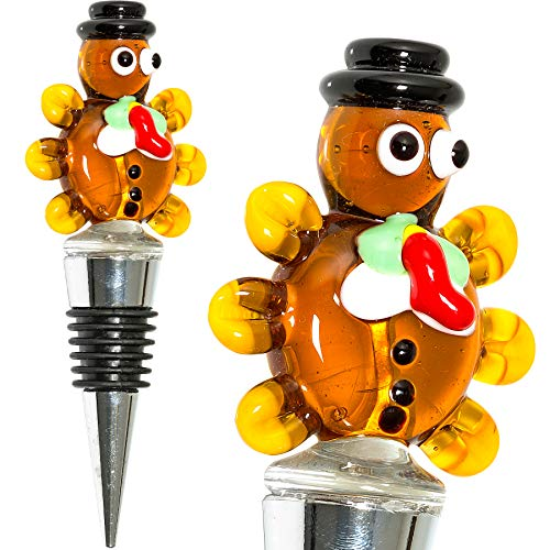 Turkey Thanksgiving Wine Bottle Stopper - Decorative, Colorful, Unique, Handmade, Eye-Catching Glass Wine Stoppers - Wine Accessories Gift for Host/Hostess - Wine Corker/Sealer