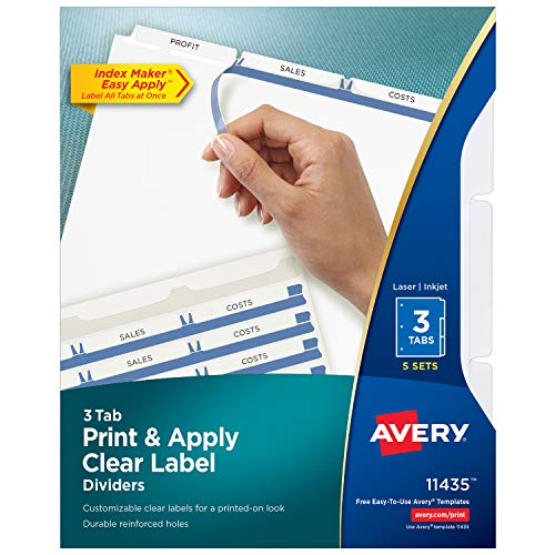 - Avery 3-Tab Binder Dividers, Easy Print & Apply Clear Label Strip, Index Maker, White Tabs, 5 Sets (11435)
