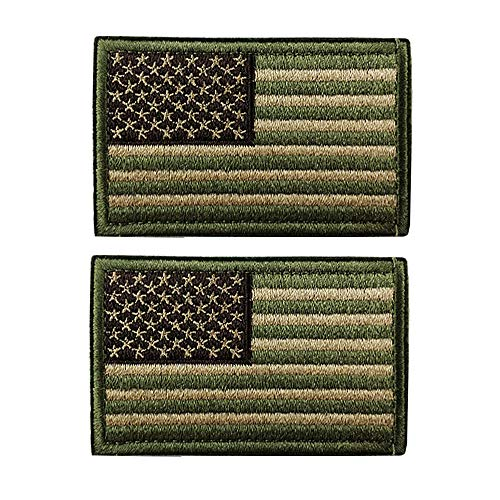 - 2 Pieces Tactical USA Flag Morale Patch Embroidered American Flag Patch Hook&Loop Fastener Backing Emblem