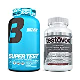 Beast Sports Nutrition Super Test 216 ct Bundle with Testovox 60 ct - High Performance Testosterone Booster and Muscle Builder for Men