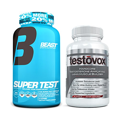 Beast Sports Nutrition Super Test 216 ct Bundle with Testovox 60 ct – High Performance Muscle Building