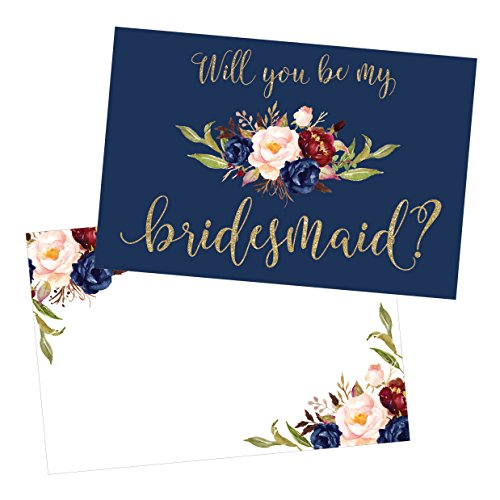 15 Will You Be My Bridesmaid Cards Navy Floral, Cute Bridesmaids Proposal Note Cards For Gifts, Blank Ask To Be Your Bridesmaids Invitations Set, Asking To Be A Bridesmaid Invite