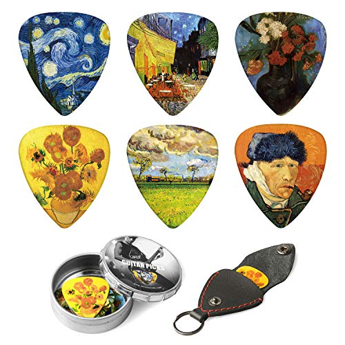 Vincent Van Gogh Picks Medium 12 Pack with Thin Box, Picks Holder - Special Gift Set Guitar Accessories for Guitarist ()