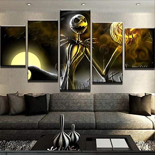 kkxdp Framed 5 Piece Canvas Art Nightmare Before Christmas Cemetery Halloween Paintings On Canvas Wall Art for Home Decorations Wall Decor-B]()