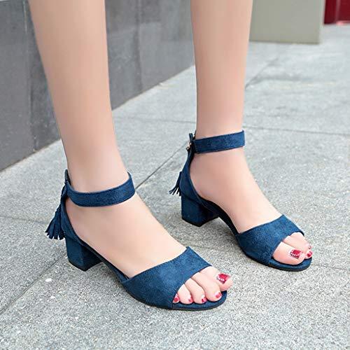 Élégant Toe Épais Compensé Femmes Theshy Peep Fête Roma Sandales Zip Chaussures Mode Talon Été Étudiant Bleu Haut Pompon Women Plates Pw4PXTq