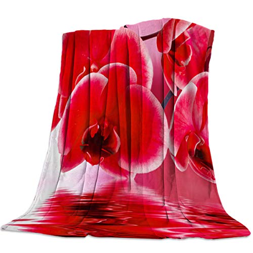 Red Orchid Floral Water Flannel Fleece Throw Blanket Home Decorative Warm Plush Cozy Soft Blankets for Chair/Bed/Couch/Sofa All Season Blanket for Child and Adults ()