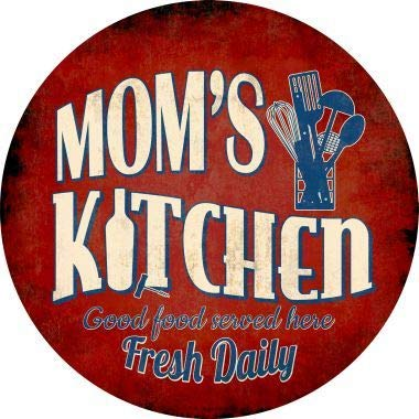 Bargain World Mom's Kitchen Novelty Metal Circular Sign (Sticky Notes) (Moms Kitchen Sign)