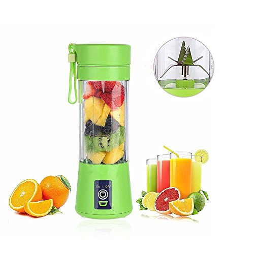 [Upgraded Version] Personal USB Juicer Cup ,Portable Juicer Blender ,Household Fruit Mixer - Six Blades in 3D,Rechargeable Fruit Mixing Machine For Baby Travel 380ml(green) (Blender Rechargeable Portable)