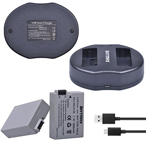 Batmax LP-E8 Battery (2-Pack)&USB Dual Charger for Canon LP-E8, LP E8, LPE8 and Canon EOS Rebel T2i, EOS Rebel T3i, EOS Rebel T4i, EOS Rebel T5i