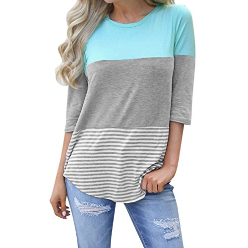 - iDWZA Women Ladies Casual Loose Striped Patchwork Lace Three Quarter Sleeve Shirts (Sky Blue, L)