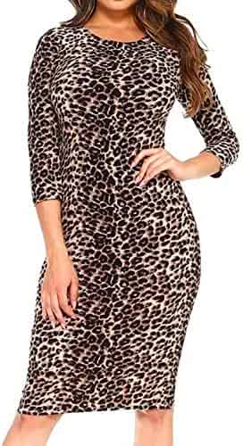 0dd7342f8e57 Simply Savvy Co USA - Leopard Cheetah Animal Print Midi Dress Gown for Women