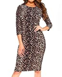 Simply Savvy Co Leopard Cheetah Animal Print Midi Dress Gown for Womem,Brown,Large